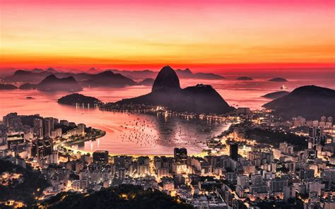 wallpapers  rio de janeiro sunset panorama