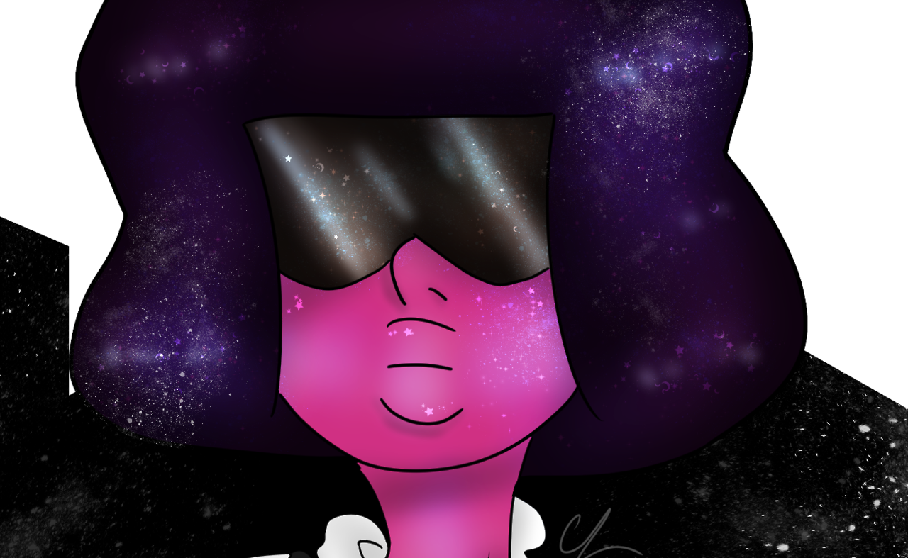 A lovely Garnet :) (transparent background cause I couldn't think of a good color to accent everything XD) EDIT: Added a close-up so you can see the sparkles in her hair, glasses, and face :)