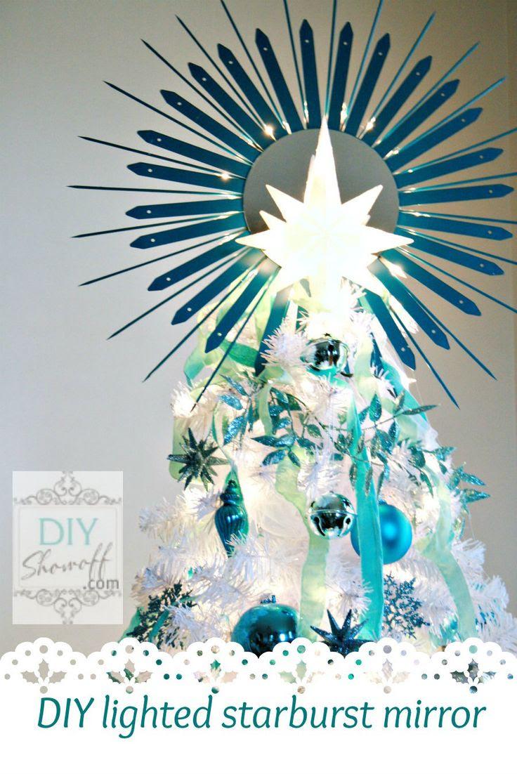 DIY lighted starburst mirror tree topper