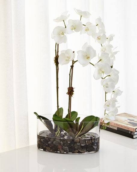 NDI Orchids in Glass FauxFloral Arrangement