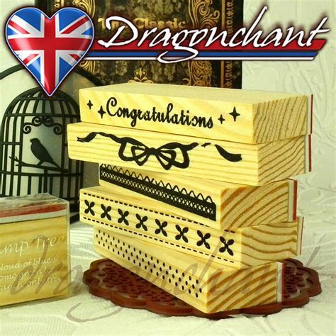 Wooden Border Rubber Stamps Scrapbook Craft Deco Wedding