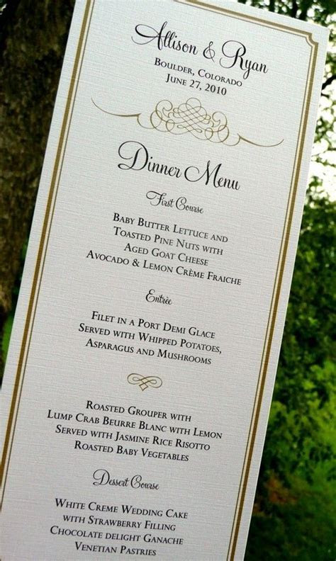 Wedding Menu Cards, Gold Menus, Blue Menus, Flourish Menus