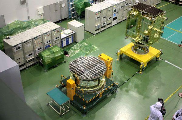 The IKAROS solar sail (lower-left) and Akatsuki spacecraft (upper-right) inside a clean room at JAXA's Sagamihara Campus.
