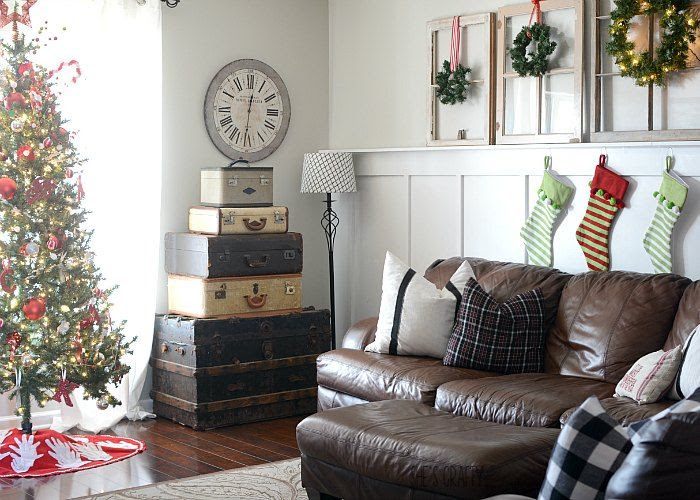 farmhouse Christmas decor vintage suitcases vintage windows brown leather couches