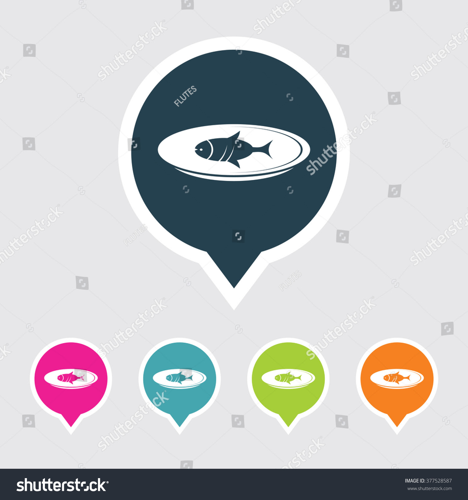 Very Useful Editable Fish Icon On Different Colored Pointer Shape ...