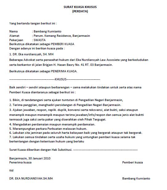 surat kuasa lengkap untuk berbagai keperluan seruni id