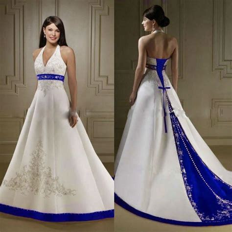 2017 Court Train Ivory and Royal Blue A Line Wedding