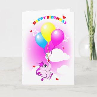Cute Pink Elephant Happy Birthday Greeting Card