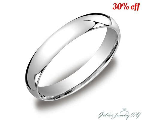 Mens Women Solid 10K White Gold Plain Wedding Band Comfort