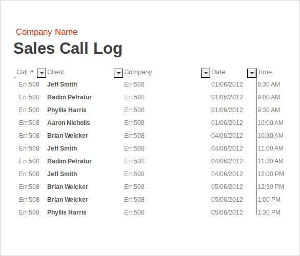 Daily Sales Call Report Template In Excel | Daily Planner
