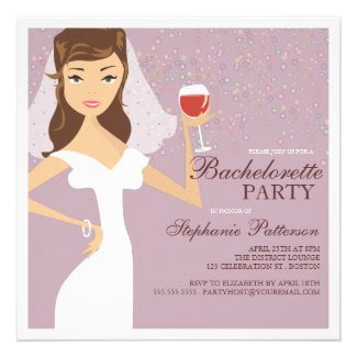 Modern Bride Wine Bachelorette Party Invitation