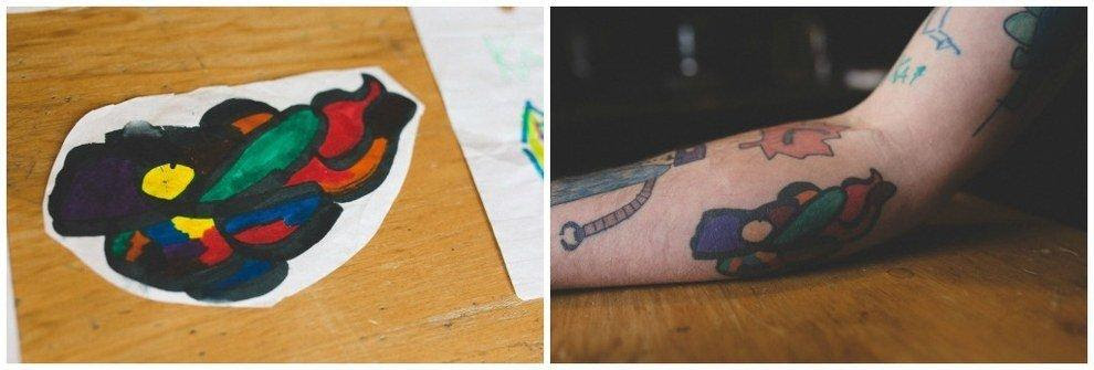 This Amazing Father Tattoos His Son's Creations. Doodles!