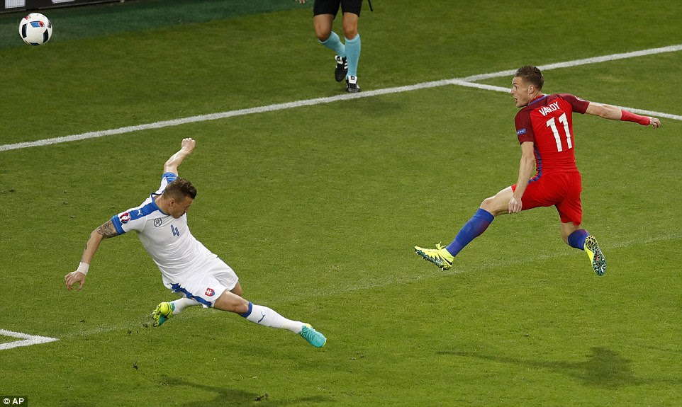 Vardy came close with an early chance for England, as he volleyed over the crossbar from eight yards out at the end of a right-wing cross