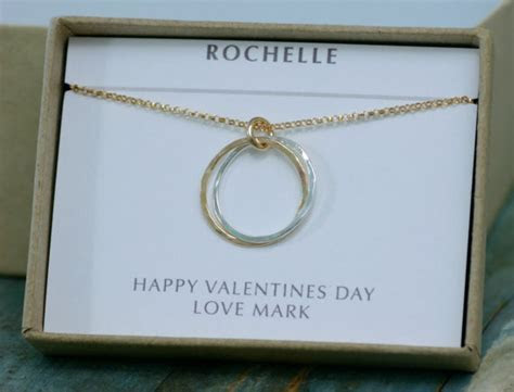 Best Friend Gift, 2 Interlocking Rings Necklace, 2 Sister