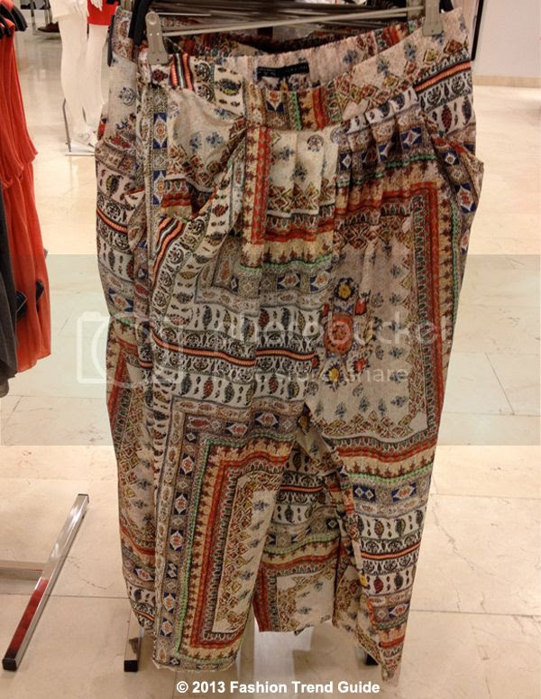 spring 2013 Paris fashion trends, Zara printed harem pants