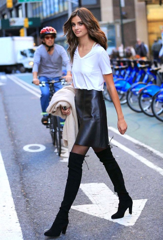 Le Fashion Blog Model Taylor Marie Hill Style White T Shirt High Waisted Leather Skirt Sheer Tights Heeled Suede Lace Back Over The Knee Boots Via Got Celeb