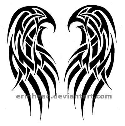 Tribal Angel Wings Tattoos Design