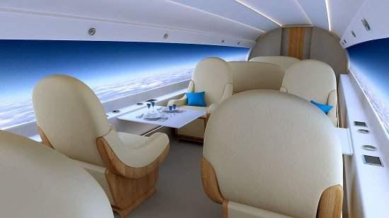 Avião supersônico terá telas no lugar das janelas
