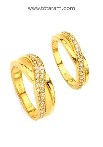 22K Gold Couple Wedding Bands With Cz   GR3930