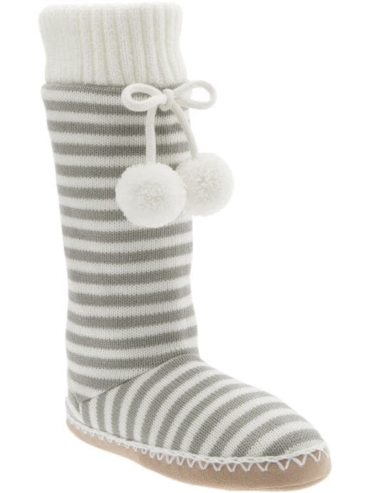 Old Navy Womens Striped Sweater-Knit Slipper Boots