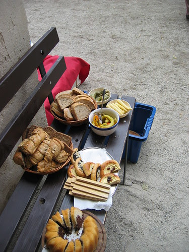 Our picnic dessert in the Hrad Rostejn courtyard