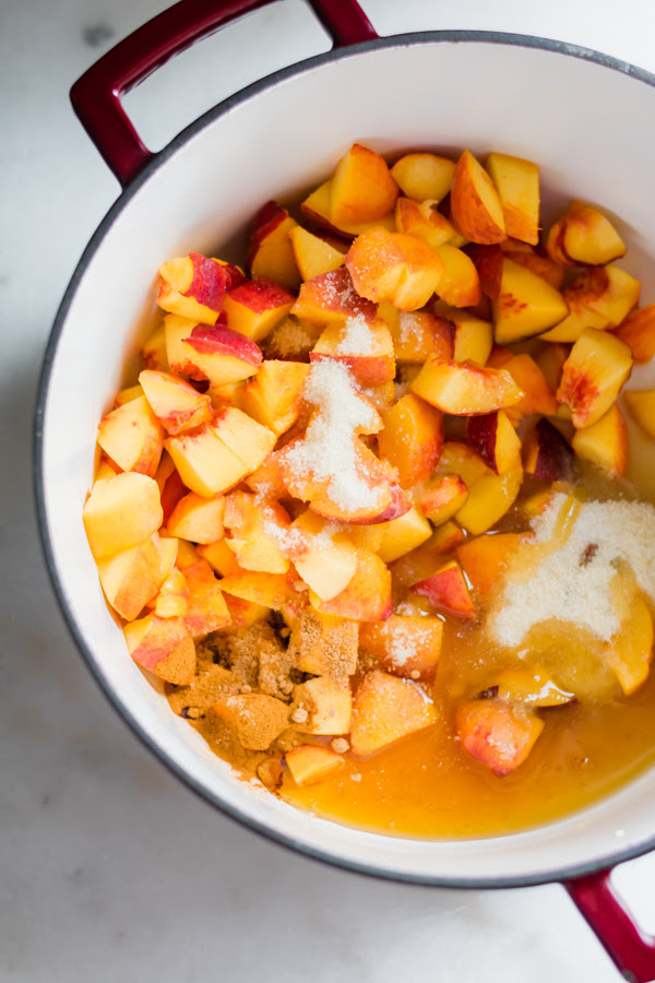 Delicious dessert bars made amongst homemade peach butter as well as a buttery peach butter crumble bars