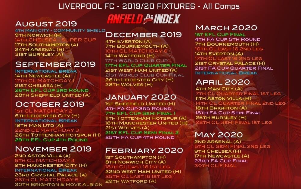 Liverpool Fixtures Premier League - Premier League ...