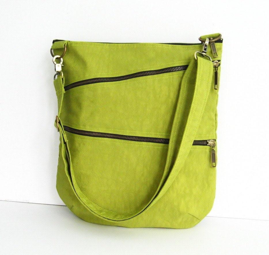 Sale - Water-Resistant Messenger Bag in Apple Green, tote, cross body bag, shoulder bag, purse - Enya - tippythai