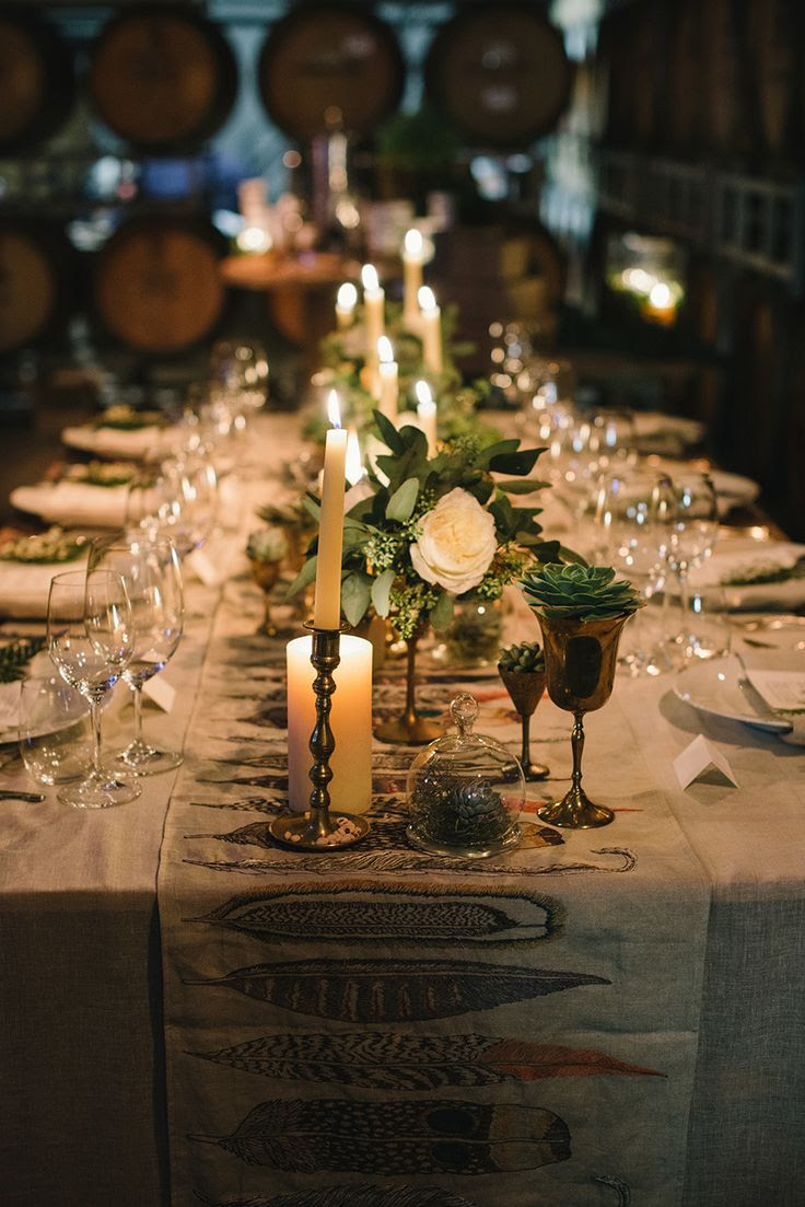 Dark and dreamy wedding reception inspiration on Style Me Pretty! See more here -- http://www.StyleMePretty.com/2014/01/31/woodland-wedding-inspiration-wiup/ Delbarr Moradi Photography