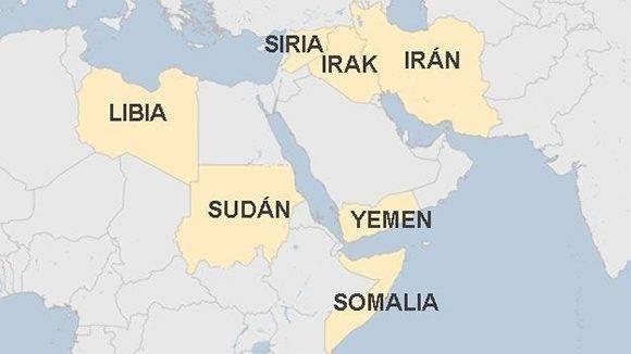 Países a los que Donald Trump desea prohibir la entrada a los Estados Unidos. Fuente: BBC.