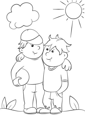 Dibujo De Dos Mejores Amigos Para Colorear Dibujos Para Colorear
