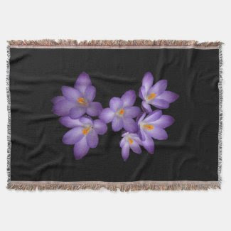 Purple Crocus Throw Blanket