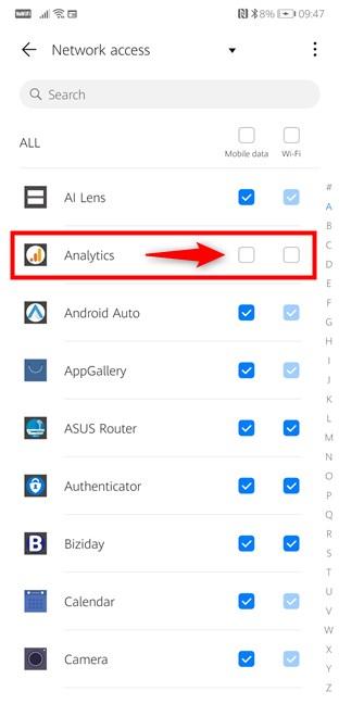 Configuración de Android: bloquea el acceso de las aplicaciones a Internet