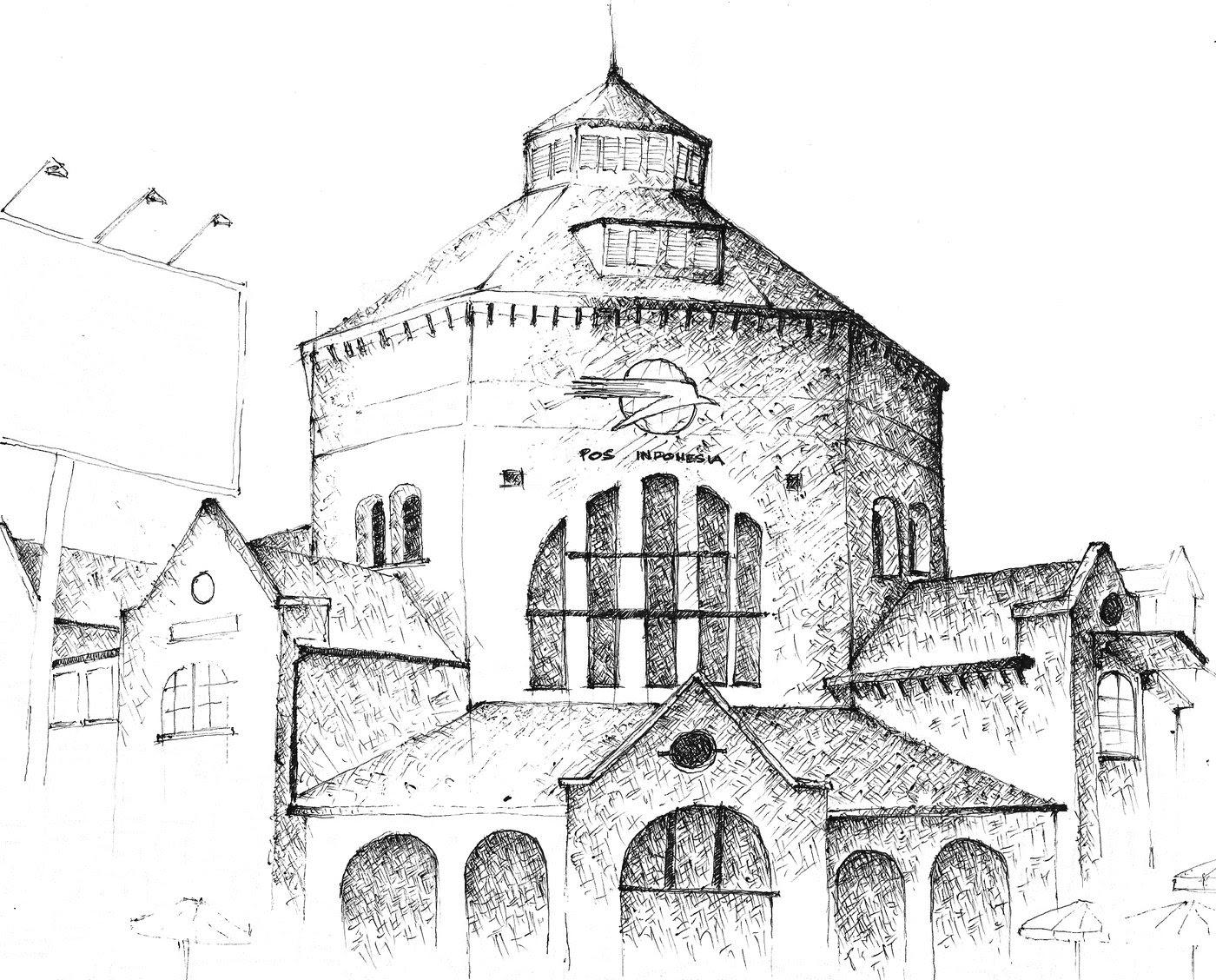 Kumpulan Contoh Gambar Sketsa Bangunan Tua