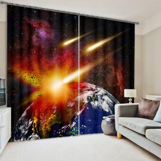 3D Planets Print Living Room&Bedroom Curtain