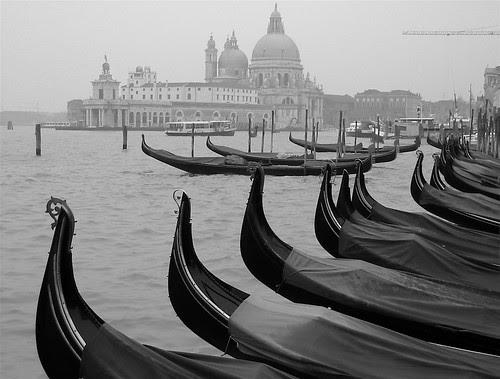 Gondolas in mist