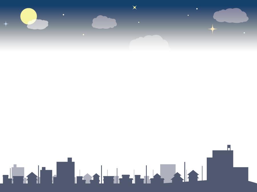 フリーイラスト 月夜と街並みの上下フレームでアハ体験 Gahag 著作