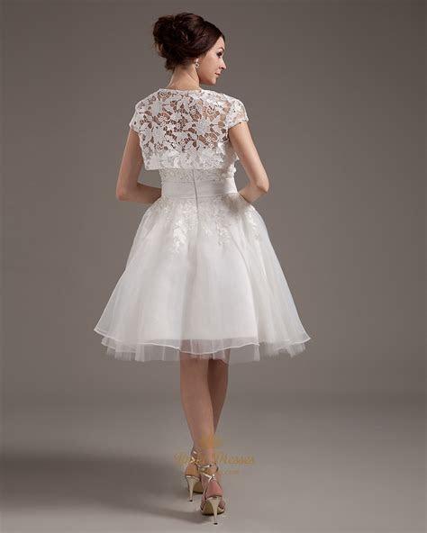 Ivory Strapless Lace Bodice Knee Length Wedding Dresses