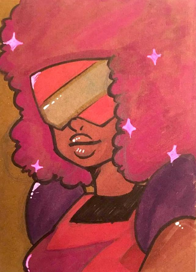 Drew Garnet for someone today! It's been too long… these markers are really weird, I'm not sure how I feel about them.