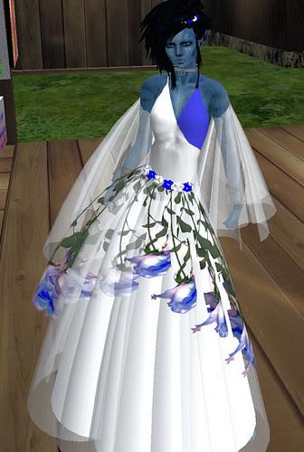 60L Sunday Lois Designs Blue Lavender Roses Gown