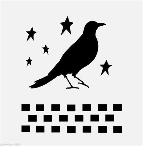 Crow stencil primitive stencils checkers border stars star