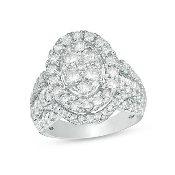 3 Ct Tw Composite Diamond Oval Frame Multi Row Engagement Ring In