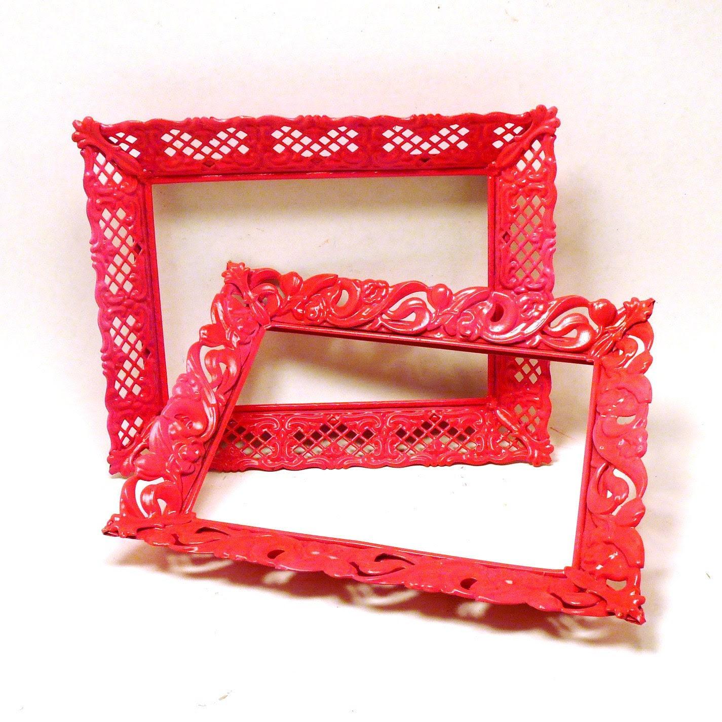 upcycled frames // vintage kitsch, neon pink decor, ornate picture frame metal, victorian, summer trends, raspberry - nashpop