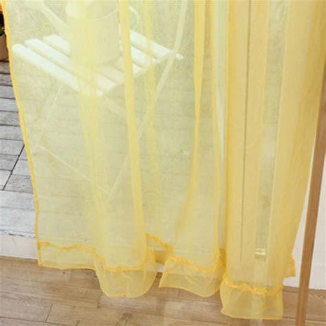 Custom Made Ruffle Sheer Curtain Set, Yellow   Custom Made