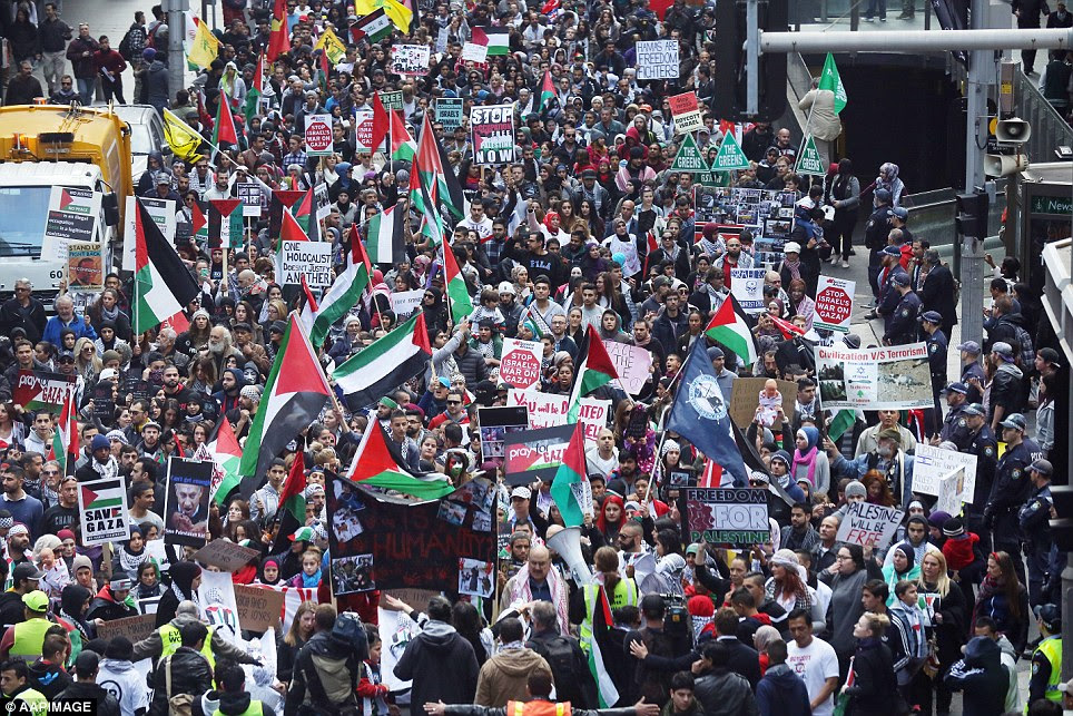 Over 2000 people marched along George Street with banners and flags that showed their support for Gaza
