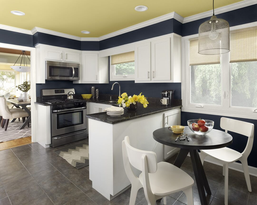 Urbanite kitchen 1-walls: polo blue (2062-10), trim: moonlight white (OC-125), ceiling: marblehead gold (HC-11)