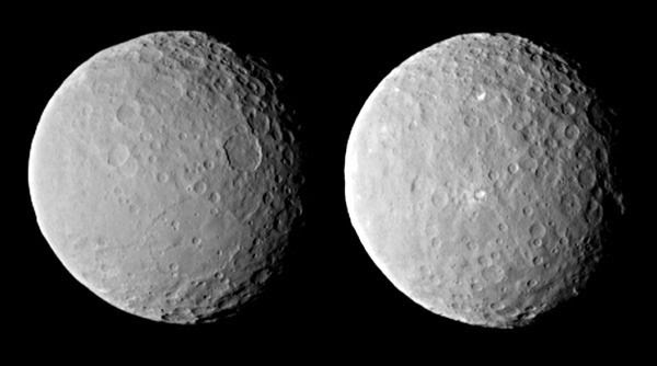 Two images of the dwarf planet Ceres that were taken by NASA's Dawn spacecraft from a distance of about 29,000 miles (46,000 kilometers), on February 19, 2015.