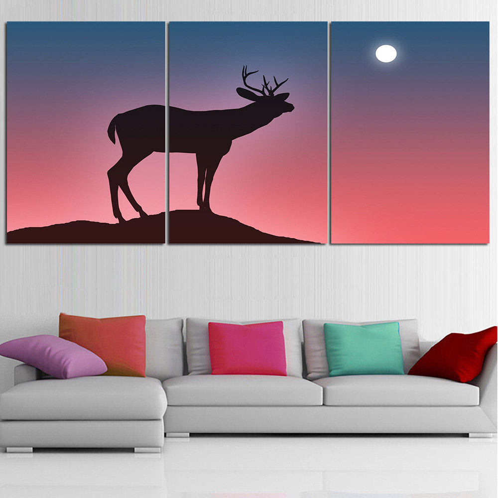 Mordern Animal Oil Painting Deer Silhouette Wall Art Posters And Prints Home Decor Canvas Pictures For Living Room No Frame 3pcs