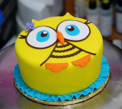Yellow Round Owl Face Cake