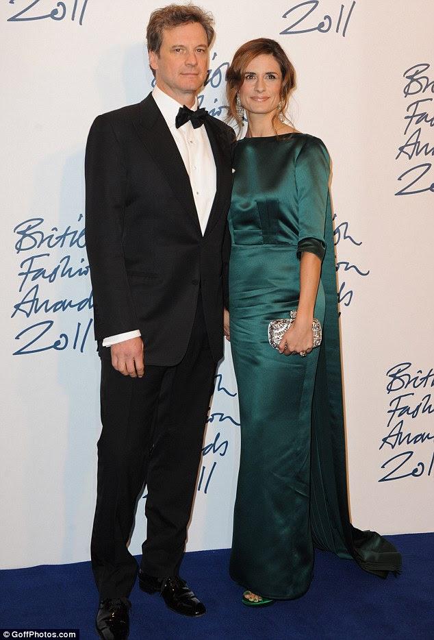 Noite da data: o ator Colin Firth participou com sua estonteante esposa, Livia Giuggioli